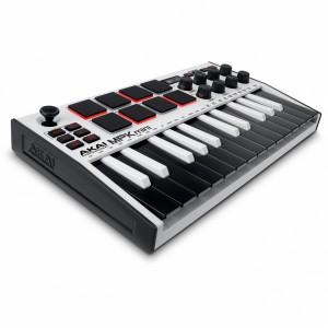 Teclado Controlador MIDI USB 25 Teclas Akai MPK Mini MK3 White angle