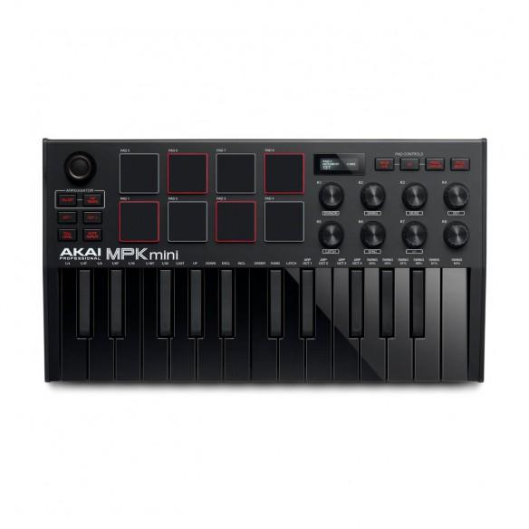 Teclado Controlador MIDI USB 25 Teclas Akai MPK Mini MK3 Black top