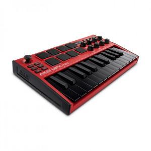 Teclado Controlador MIDI USB 25 Teclas Akai MPK Mini MK3 Red angle