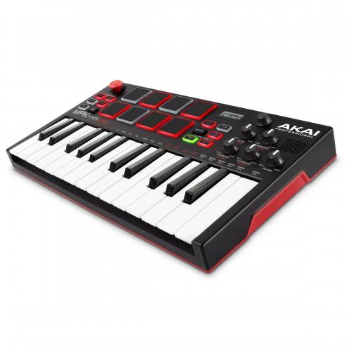 Teclado Controlador MIDI USB Autónomo 25 Teclas Akai MPK Mini Play angle